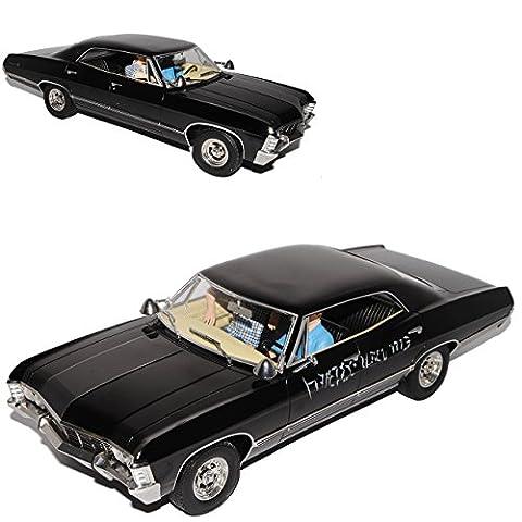 Chevrolet Impala Sport Sedan 1967 Limousine Schwarz Supernatural mit Figuren Sam und Dean 1965-1970 1/18 Greenlight Modell Auto
