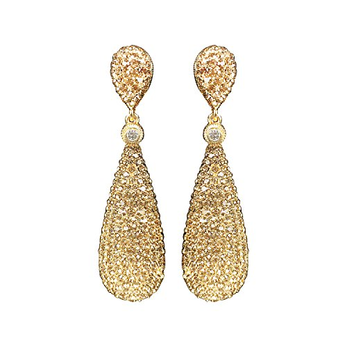 Moonstruck Champagne Diamond Golden Drop Earrings For Women