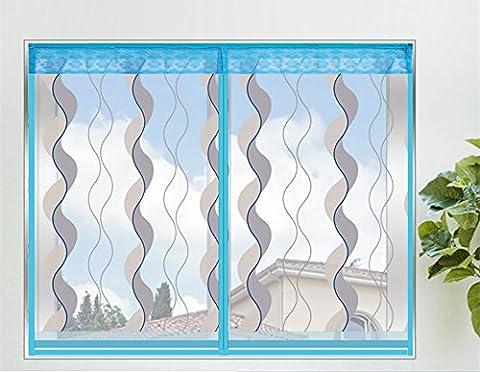 Fliegengitter Fenster mit Magnetverschluss Plaetschern Insektenschutz Fenster Blau,60*120
