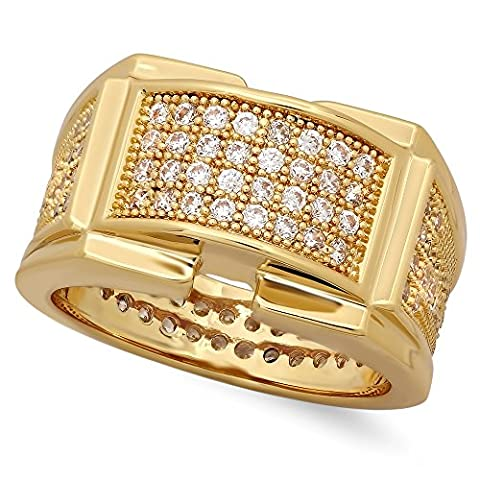 Iced Out 14k Gold Plated Micropave CZ 12.5mm Framed Center Band Ring, Size 12