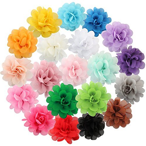 Discoball 20 Pcs Multicolor Chiffon Flowers Petal Hair Clip Bow Clip Barrettes Accessories Alligator Clip for Kids Baby Girls by discoball