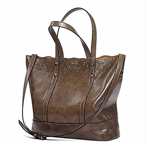YAAGLE PU Leather Large Capacity Hollow Tote With Removable Inside