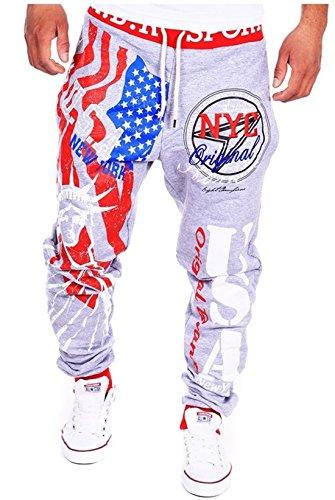 mens-outdoor-casual-running-jogger-bottom-pants-trousersgreyredxxl