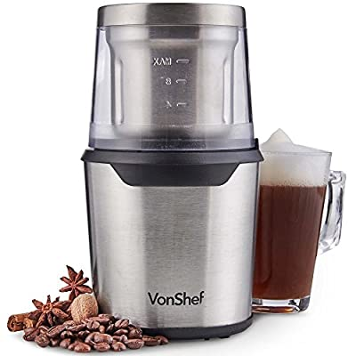 VonShef 2 in 1 Coffee Grinder – Stainless Steel – Coffee Beans, Spices & Nuts from VonShef