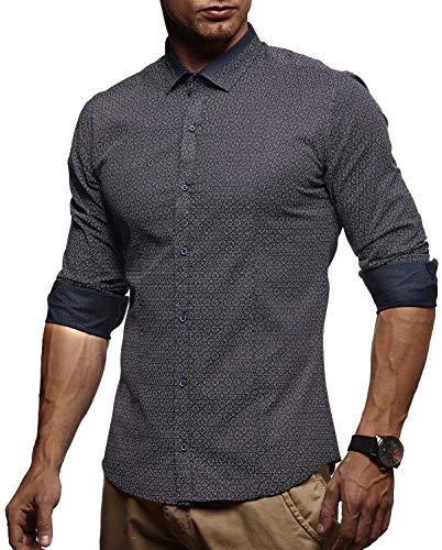 LEIF NELSON Herren Kurzarm Hemd Slim Fit Langarm Kurzarmhemd Freizeithemd Freizeit Party T-Shirt LN3385; M, Dunkel Blau  