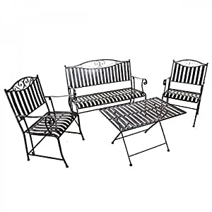 Westerholdt GmbH - Set da giardino in ferro battuto, 4 pezzi, panca, 2 sedie, tavolo, pieghevoli, struttura solida