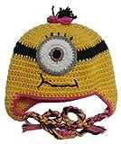 Kinder Mütze Kids Warm Minion Cap für Mädchen Jungen, Gelb - Pink, one size