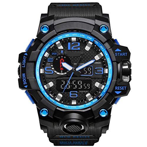 YZT QUEEN Herren Sport Digitaluhr, 50 Meter wasserdichte Uhr LED Quarzuhr Sportuhr männlich, Multifunktions-Outdoor-Sport, leuchtende Uhren,Blackblue