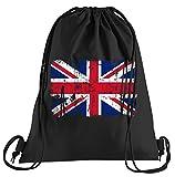 Union Jack Vintage Flagge Fahne Sportbeutel – Bedruckter Beutel – Eine Schöne Sport-Tasche; aus Hochwertigen Materialien – Beutel mit Kordeln – Ein schöner Rucksack aus Baumwolle - Tasche in Schwarz