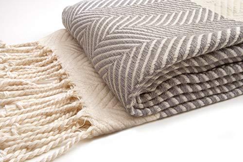 Zusenzomer telo mare fouta xxl dilan 95x210 grigio - telo hammam grande e lussuoso - 100% cotone con un disegno fine a spina di pesce - teli fouta modello esclusivo