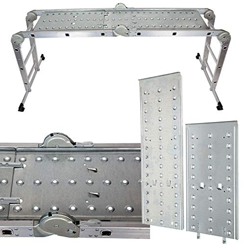 Intercon Mehrzweckleiter Aluleiter bis 150 kg, 12 Stufen mit 2 Gerüstplatten EN 131 TÜV Rheinland GS