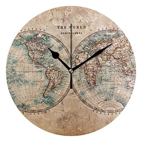 Xukmefat Map The World in Hemisphären 3D-Druck Silent Wall Clock mit Non Ticking Quient Bewegung für Living Room Decor