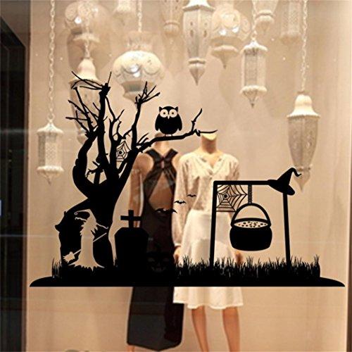 Xshuai Neuer stilvoller heißer Verkaufs-glücklicher Halloween-Haus-Haushalt 85cm * 58cm Raum-Wand-Aufkleber-Wand-Dekor-Abziehbild entfernbar (Schwarz) (Thema Halloween Heißes)
