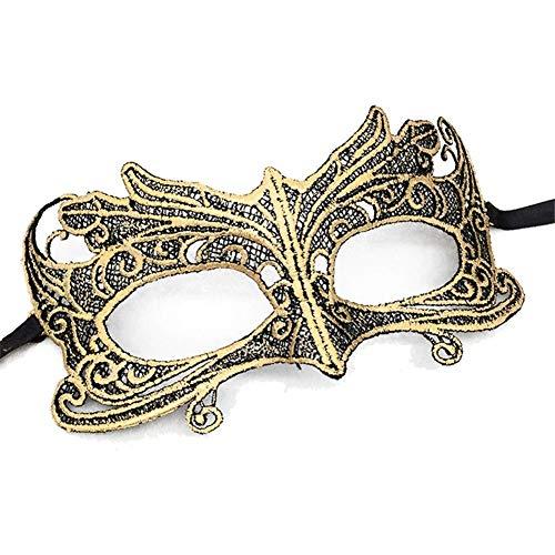 he Maske Gold / Schwarz - Damen - Maskenball Fasching Karneval ()