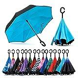 Jooayou Doppellagigem Reverse Regenschirm, Umkehren Taschenschirm Winddicht UV-Schutz Schirm, Selbst Stehend Stockschirme Mit C-förmigem Griff,Tragetasche mit Schultergurten