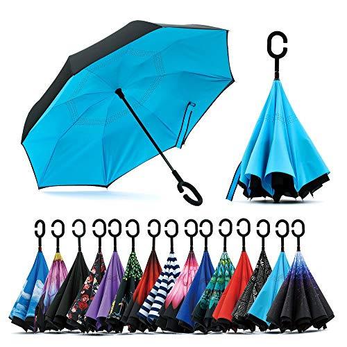 Jooayou Parapluie Inversé, Anti-UV Double Couche Coupe-Vent Parapluie, Mains Libres poignée en...