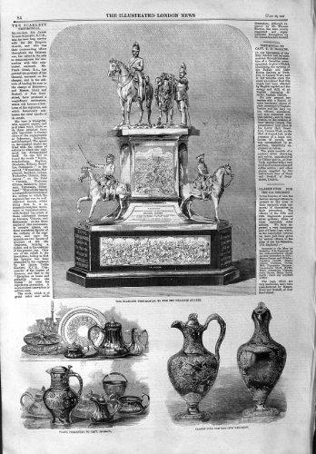 LE DRAGON TESTIMONIAL DE 1859 SCARLETT GARDE DES CRUCHES DE CLARET par original old antique victorian print