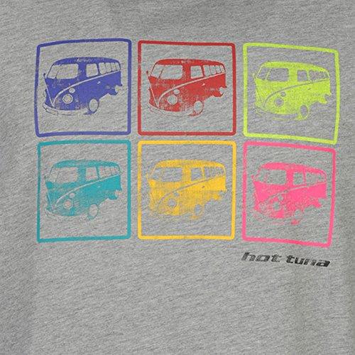 Hot Tuna Herren T Shirt Kurzarm Baumwolle Print Gerippter Rundhals Freizeit Grau M Camper