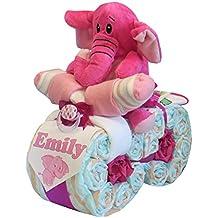 """Windeltorte - Windelmotorrad """"Elefant"""" rosa"""