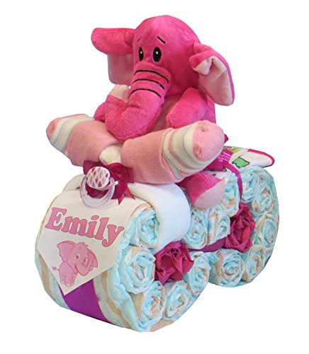 'pañales pañales para tartas-Moto 'Elefante Color Rosa