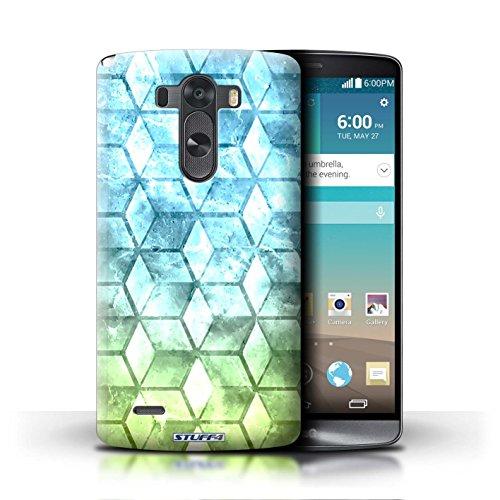 Kobalt® Imprimé Etui / Coque pour LG G3/D850/D855 / Vert/Bleu conception / Série Cubes colorés Bleu/verd