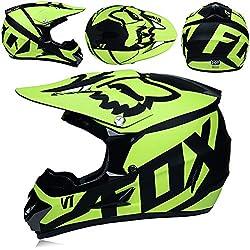 MJW Adulto Motocross Casco/Gafas/Máscara/Guantes Moto Casco,A,S