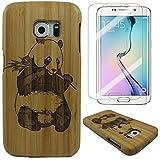 Semoss 2 en 1 Accessoires Set Nature Panda Coque Bambou Bois Etui pour Samsung Galaxy S7 Edge Fabriqué à la Main Bamboo Housse en Protection Hardcase Bumper Cover Rigida avec Protecteur d'ecran