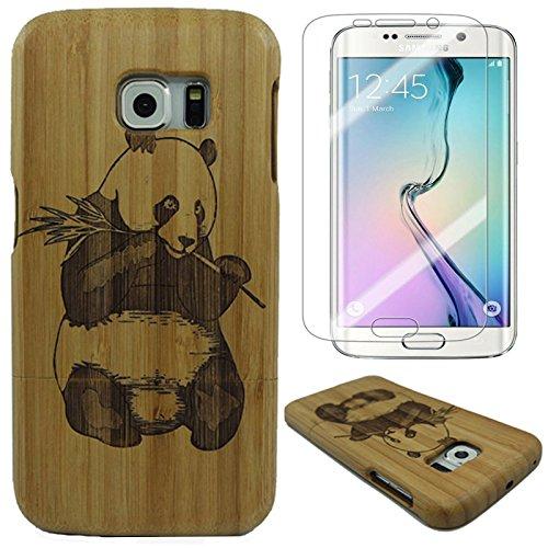 Semoss 2 in 1 accessori set panda custodia in bambu fatta a mano bumper cover rigida per samsung galaxy s7 edge wood naturale bamboo case cover realizzata a mano con proteggi schermo
