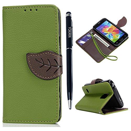 YOKIRIN S5 Mini Wallet Case Schutzhülle für Samsung Galaxy S5 Mini Hülle Tasche(Nicht für S5) PU Leder Flip Cover Folio Etui Schale Standfunktion Kredit Kartenfächer Blatt Magnet Wallet Grün