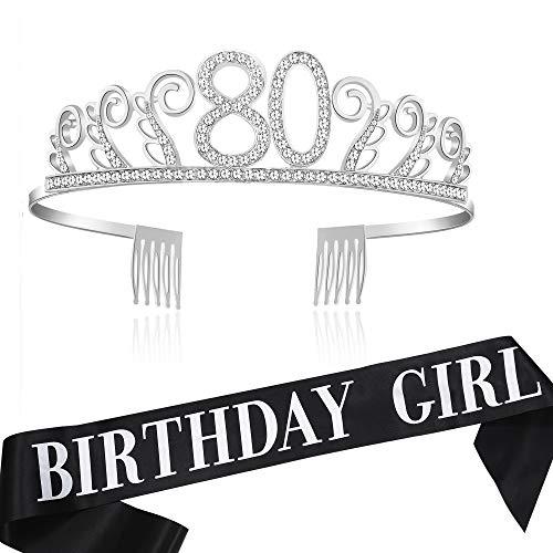 Coucoland Geburtstag Krone mit Geburtstag Schärpe Satin Birthday Crown and Sash Set Geburtstagsdeko Geschenk für Damen Geburtstag Party Accessoires (80 Jahre alt - Silber (2 Stück))
