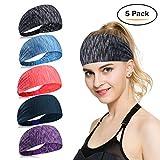 Sport Stirnband für Frauen Lady - Headband Schweißband für Yoga, Radfahren, Laufen, Fitness, Fahrrad Volleyball Running Rennen Fußball Anti- Rutsch Haarband Headbands für Herren und Damen (Mehrfarbig-5Stück-A)