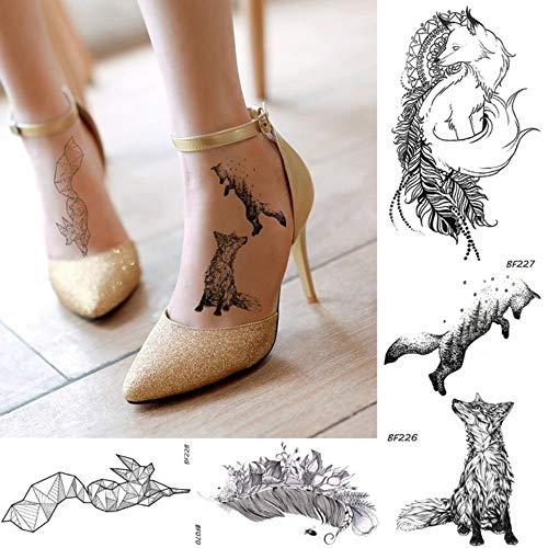 anzihuanxi Frauen Schwarz Temporäre Tätowierung Aufkleber Fox Pflanze Blume Feder Watertransfer Gefälschte Tatoos Geometrie Body Art Tattoo Aufkleber 10,5 cm