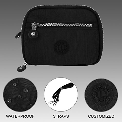 Lackingone Nylon Portafoglio Donna a Tracolla RFID/NFC/Apple Pay Blocco Portafoglio Porta Carte di Credito Porta Passaporto Nero