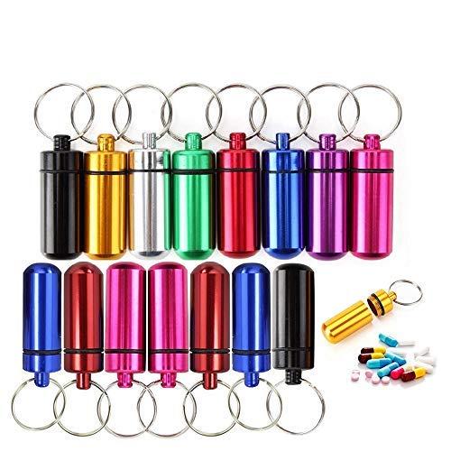 15Stück Mini-Kapsel wasserdicht/Pillen Kapsel/Aufbewahrungsbox mit Schlüsselbund- Bunte im Freien kampierende Reise-bewegliche pillenbox schlüsselanhänger/ Match-Kasten-Flasche(gelegentliche Farben)