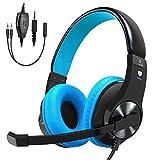 Stoon Gaming Headset per PS4, Xbox One (adattatore necessario)/S/x, PC, stereo cancellazione del rumore cuffie con microfono, luce LED, morbido paraorecchie memoria per Nintendo interruttore (audio) per Mac blu Blue