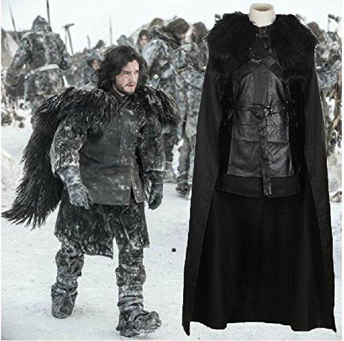 Sunkee Halloween Game of Thrones Cosplay Umhang Jon Snow-Kostüm , Maßgeschneiderte (Bitte geben Sie Ihr Gewicht, Höhe, Breite, Taille, Brust und Hüfte) (XL: 170-175cm, Jon Snow (Kostüme Maßgeschneiderte)