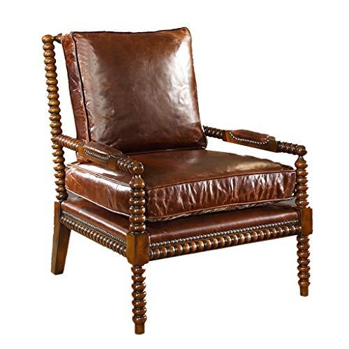 HEUFHU888 Lounge Chair mit hoher Rückenlehne, Boss Chair, Sofa aus europäischem amerikanischem Massivholz, Ledersofa, Single Living Chair, Home Single Chair (Color : Brown) -