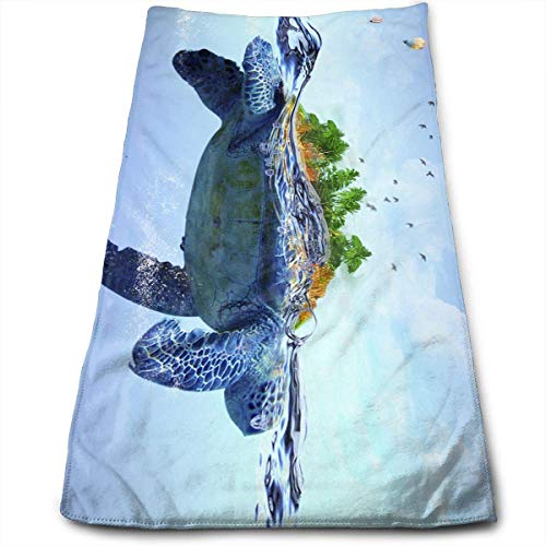 Hipiyoled Tiefseeschildkröte Baby (6) Mikrofaser 3D Designmuster Handtuch 12x27,5 in Handtuch Haartücher - Bronze Badetuch