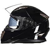 Motorradhelm FüR MäNner Fullface Bmx Helme Doppellinsen-Volldecker-Rennlok, Anti-Fog-Helm, Vier Jahreszeiten,Brightblack-L