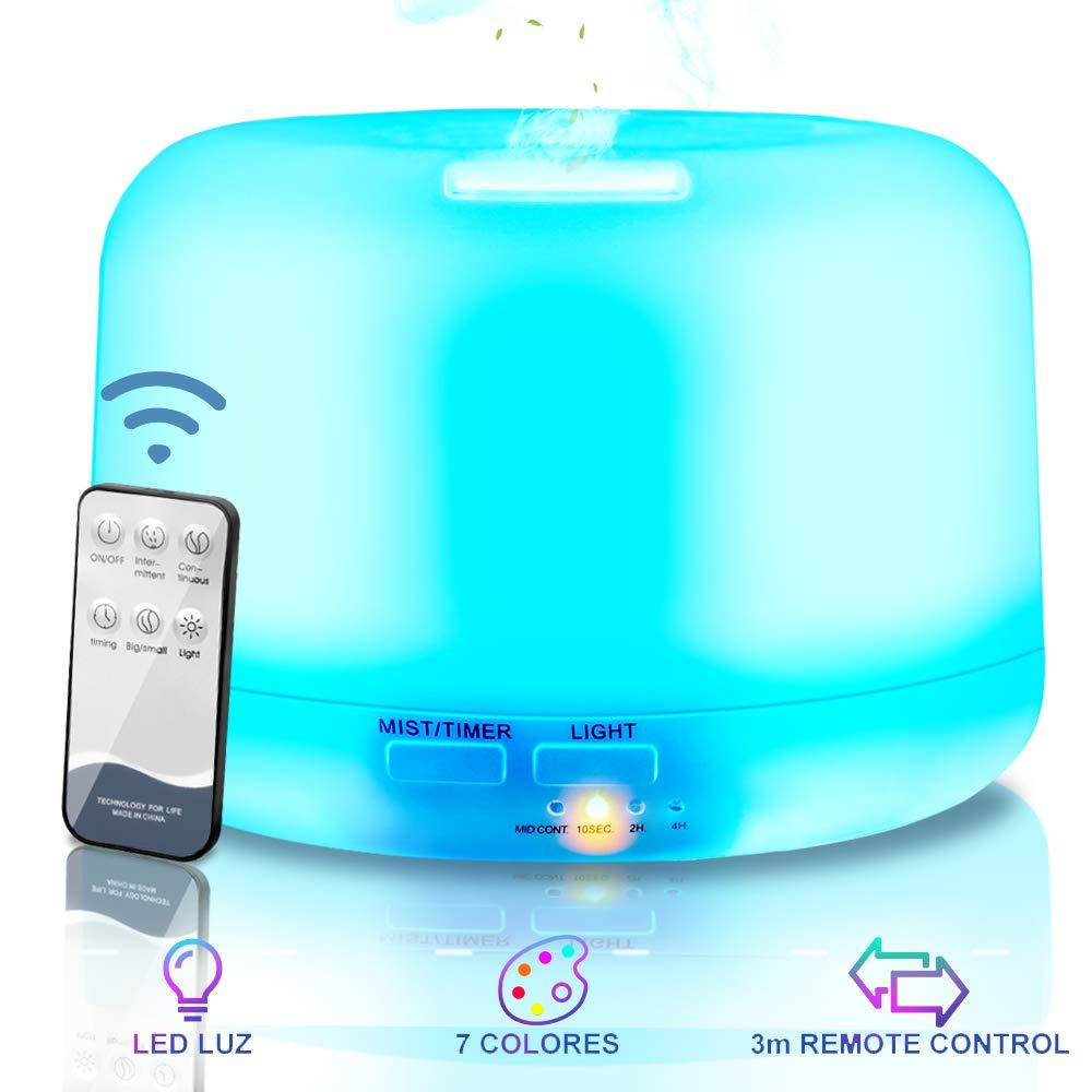 NAIXUES Humidificador Ultrasónico, Difusores Humidificadores Aromas de 300ml, Difusor de Aceites Esenciales con Control Remoto, 7 Color LED, 2 Temporizador Hogar, Humificador Oficina, Yoga, SPA
