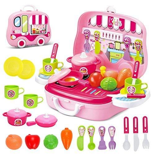 Rollenspiel Küche Spielzeug Kinder Kochen Lebensmittel Spielset für Kleinkind Mädchen 3 Jahre alt (Rosa) (Küche Mädchen Spielzeug)