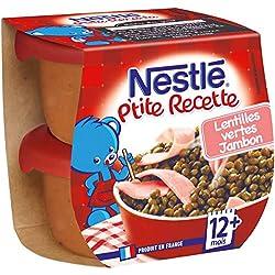 Nestlé Bébé P'Tite Recette Lentilles Vertes Jambon Plat Complet Dès 12 Mois 2 x 200 g