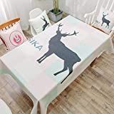 Square Cotton Linen Tablecloth Black Elk Dining Table Dust-Proof Protector Cover for Home Hotel Cafe Restaurant Decor,001,XXL
