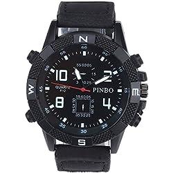 Men's Wrist Watch - PINBO Men's Large dial canvas Watch Band movement quartz Wrist Watch Black Bnad+Black Dial