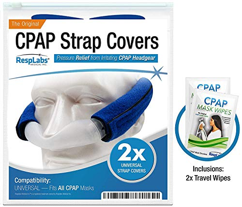 CPAP Headgear Strap Covers, Mask Pads - Universal 2 Pack | Extremely Comfortable Soft Fleece | Machine Accessories & Equipment Supplies by RespLabs -