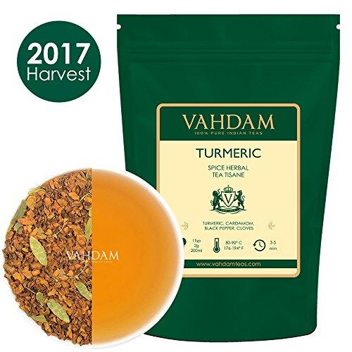 Kurkuma-Gewürz-Chai-Tee (100 Tassen) Indiens alte Medizin-Mischung von Kurkuma & Gartenfrischen Gewürzen, REICH AN ANTIOXIDANTIEN & Phyto-Nährstoffen, Kurkuma-Tee, verpackt in Indien 200g (Alter Tee)