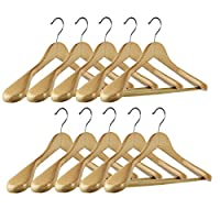 10 Pieces Deluxe Coat Suit Garment Clothes Natural Wood Color Fine Polished Solid Wooden Hangers With Non Slip Tube and Coated Finish Good for Coat with Durable Chromed Hook