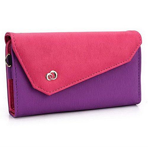 Kroo Pochette Portefeuille Lien Serie Convient pour Huawei Honor Multicolore - Purple and Magenta Multicolore - Purple and Magenta