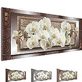 Bilder – Wandbild - Vlies Leinwand - 100 x 40 cm - Orchidee Bild - Kunstdrucke – mehrere Farben und Größen im Shop - Fertig Aufgespannt !!! 100% MADE IN GERMANY !!! - Blumen – Abstrakt 205412a
