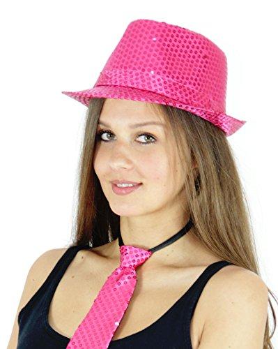 Foxxeo Pinker Pailletten Hut für Erwachsene Fasching JGA Party pink rosa Karneval
